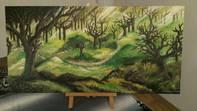 Acryl Gemälde Wald Auf Leinwand Grösse: 80x40 cm